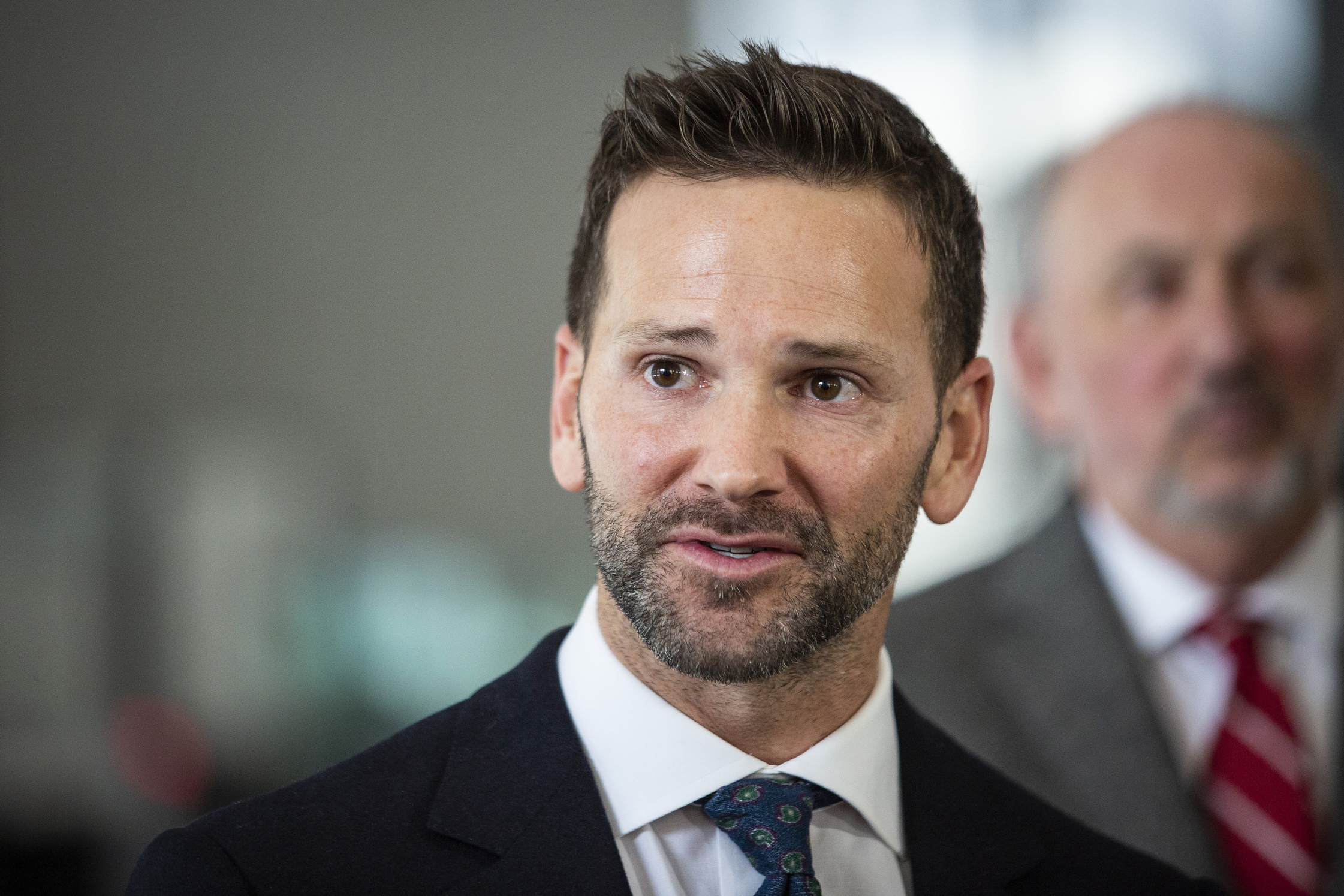 In this March 6, 2019 file photo, former U.S. Rep. Aaron Schock, R-Ill., speaks to reporters at the Dirksen Federal Courthouse in Chicago.