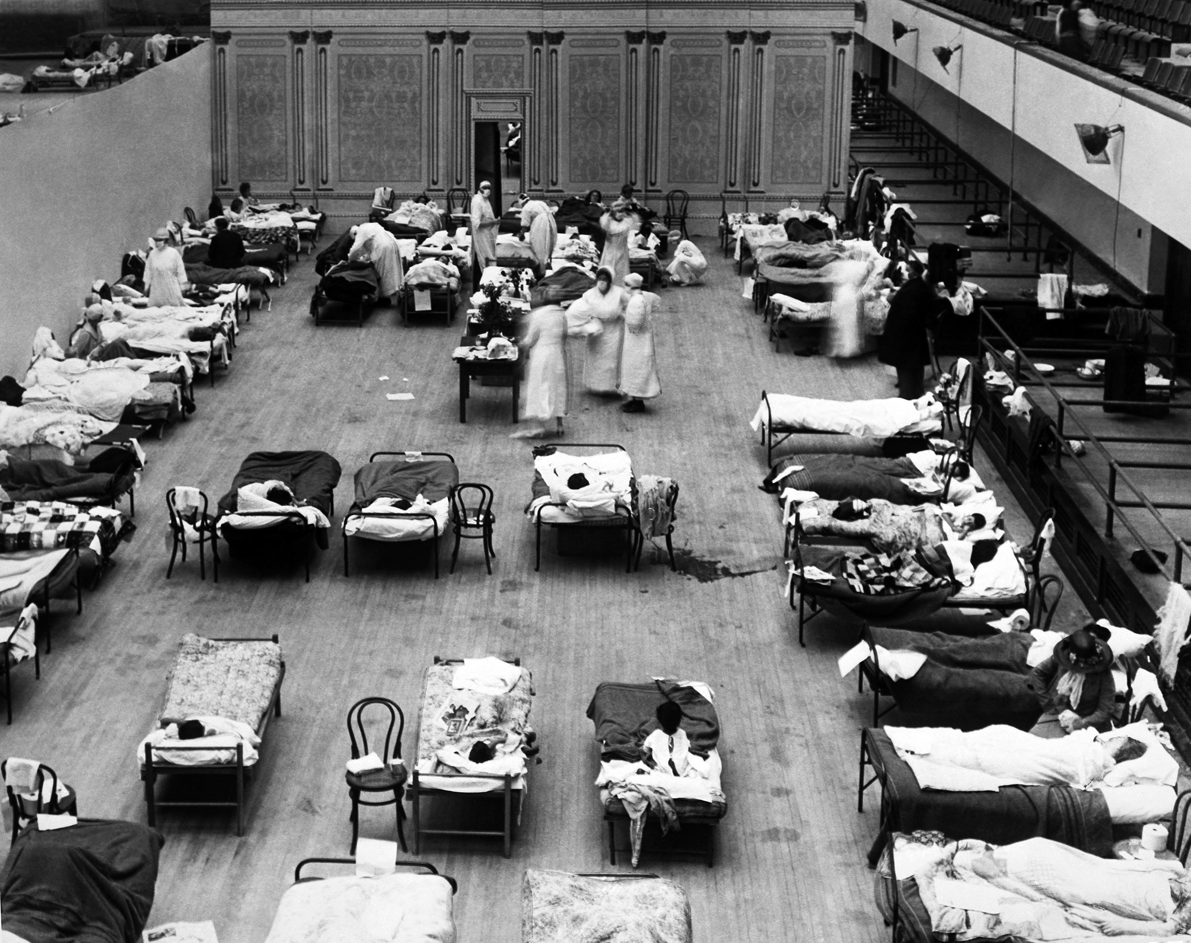 The Oakland Municipal Auditorium being used as a temporary hospital during the influenza pandemic of 1918, in Oakland, California.