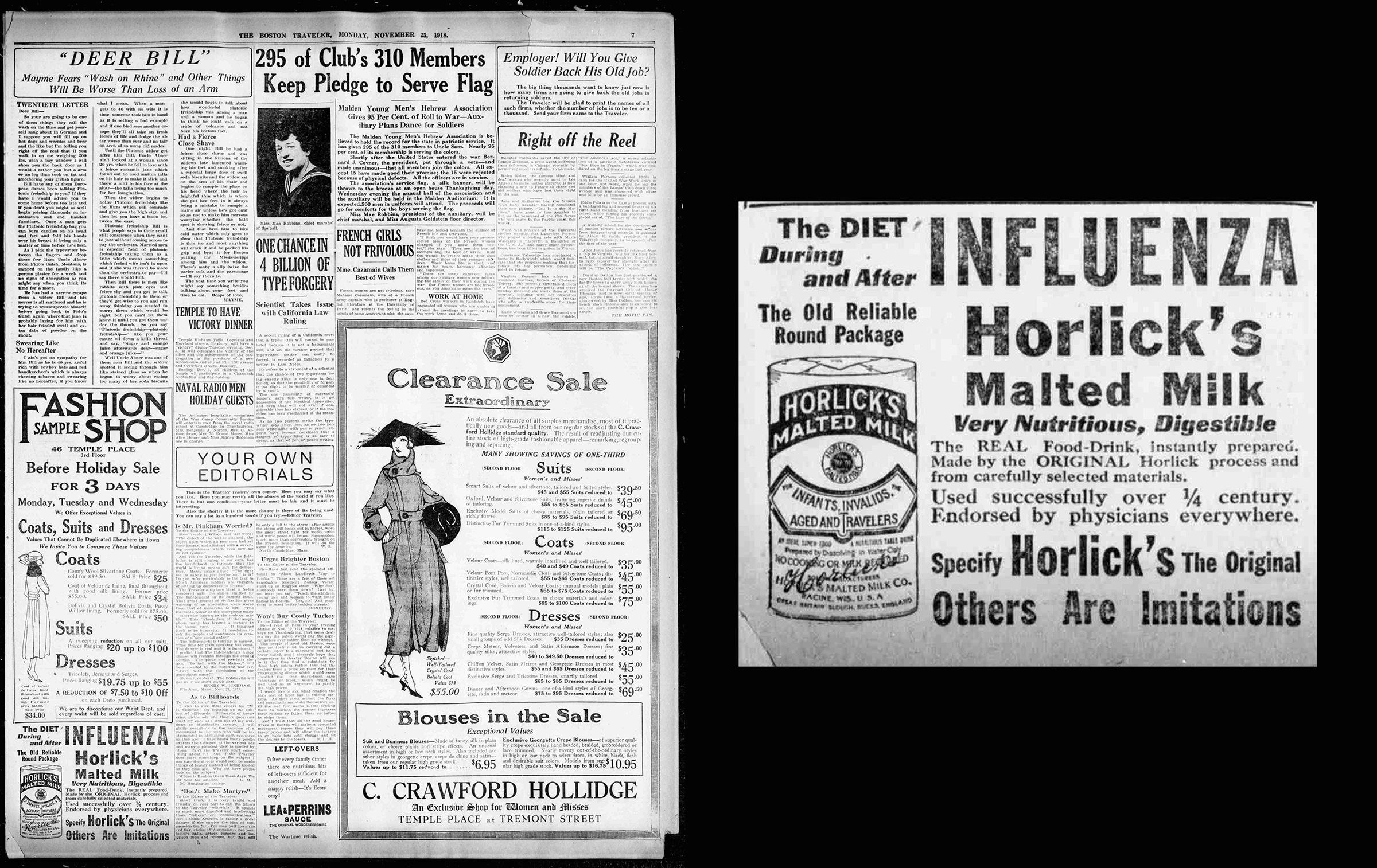 Newspaper Ads on the Spanish Flu Echo Coronavirus
