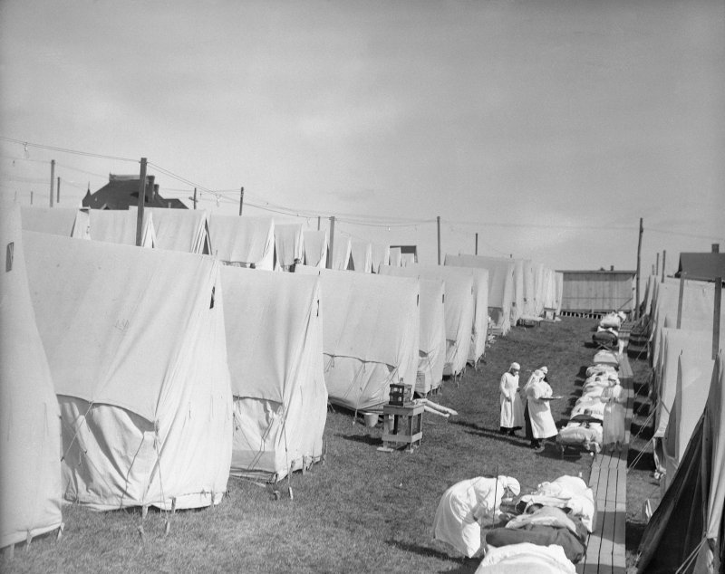 An influenza camp, where patients were given  fresh air treatment,  in 1918.