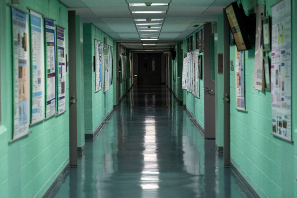 A view of an empty hallway at the Taipei American School in Taipei on Feb. 24, 2020.