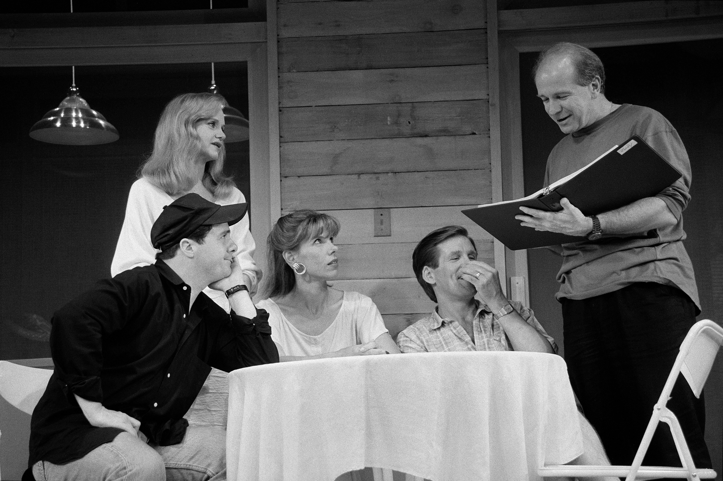 Playwright Terrence McNally, right, at a rehearsal for  Lips Together, Teeth Apart  in New York on June 27, 1991, with, from left, Nathan Lane, Swoosie Kurtz, Christine Baranski and Anthony Heald.