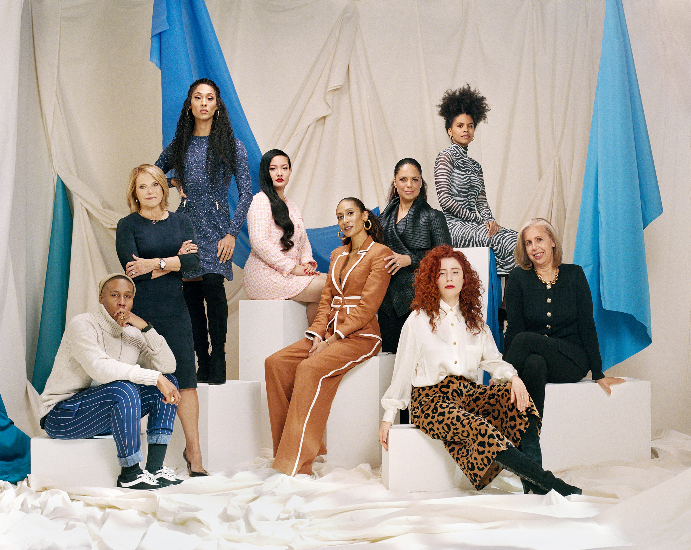From left: Committee members Lena Waithe, Katie Couric, Mj Rodriguez, Amanda Nguyen, Elaine Welteroth, Soledad O'Brien, Zazie Beetz, Alma Har'el and Nancy Gibbs, photographed on Feb. 16 in New York City