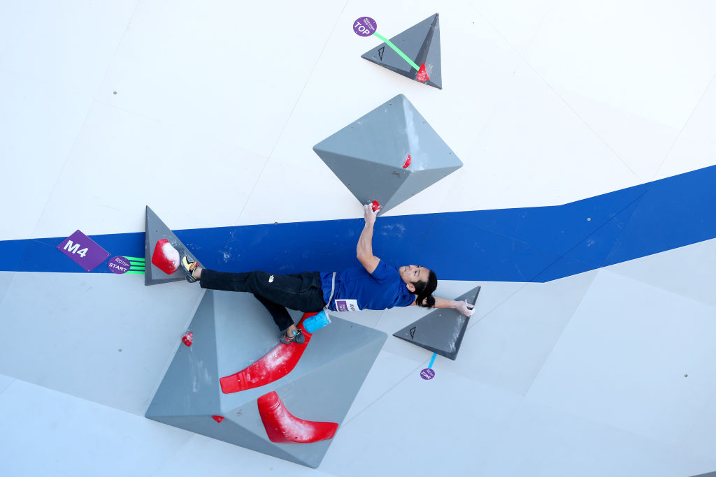 Participants compete in the Bouldering discipline during the Sports Climbing Tokyo 2020 Olympic test event at the Aomi Urban Sports Park on March 06, 2020 in Tokyo, Japan.
