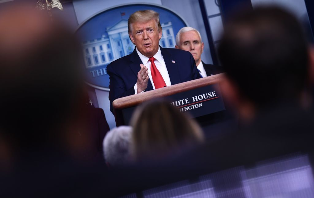 U.S. President Donald Trump answers a question during the daily briefing on the novel coronavirus, COVID-19, at the White House on March 18, 2020, in Washington, D.C.