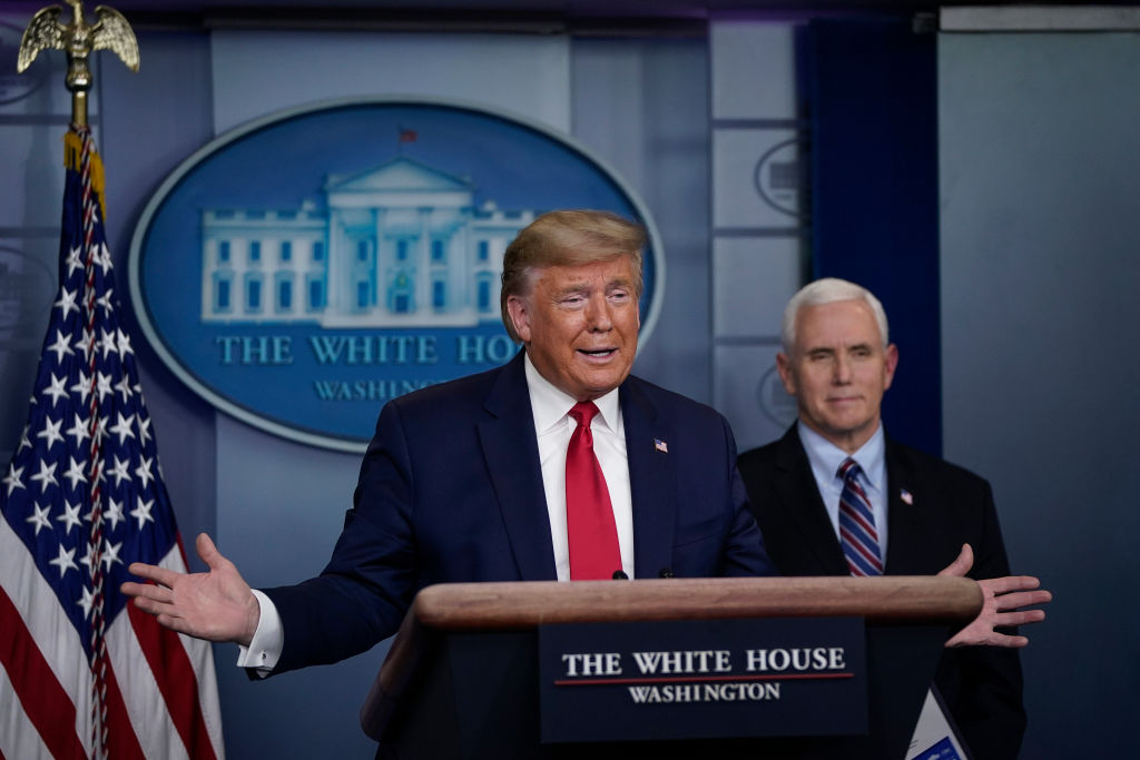 U.S. President Donald Trump speaks during a briefing on the coronavirus pandemic in the press briefing room of the White House on March 26, 2020 in Washington, D.C.