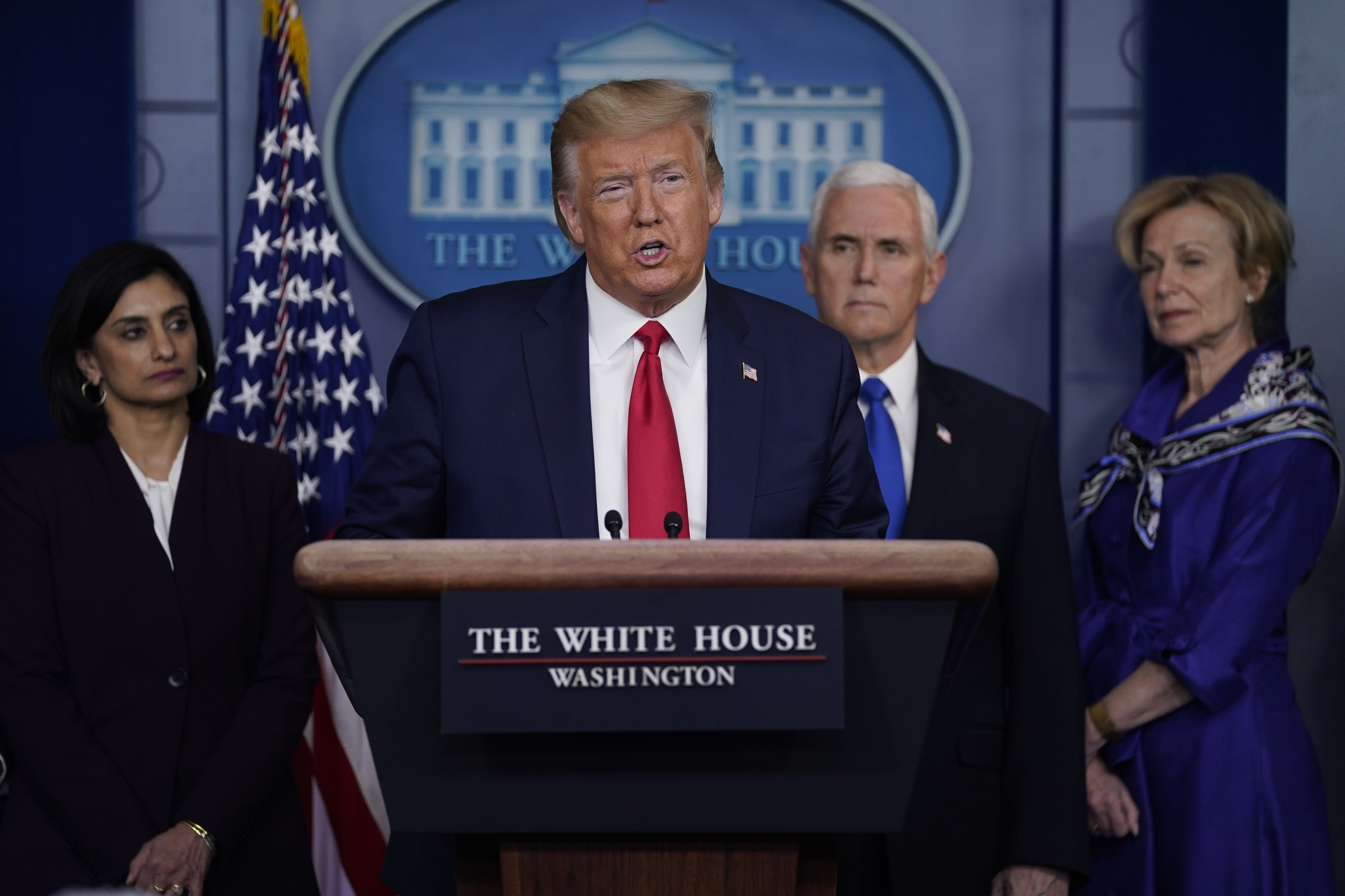 President Donald Trump speaks during press briefing with the Coronavirus Task Force, at the White House, on March 18, 2020, in Washington.
