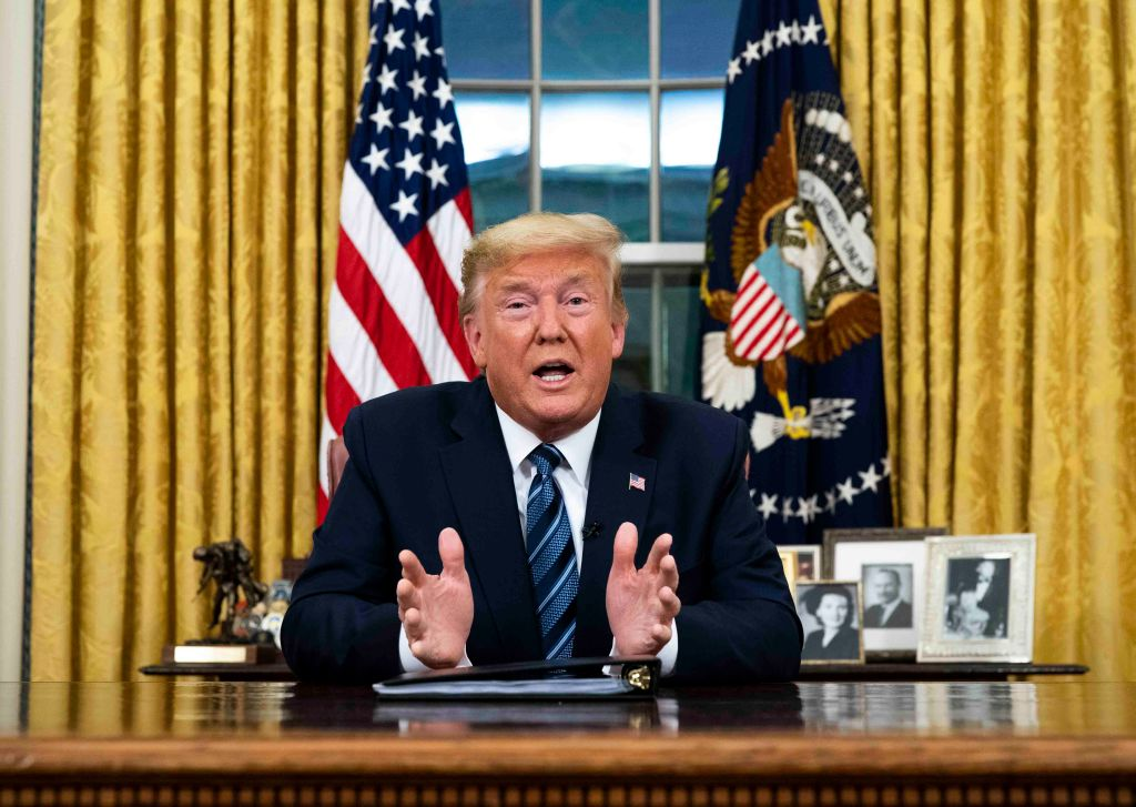 US President Donald Trump addresses the nation from the Oval Office about the widening Coronavirus crisis on March 11, 2020 in Washington, DC.
