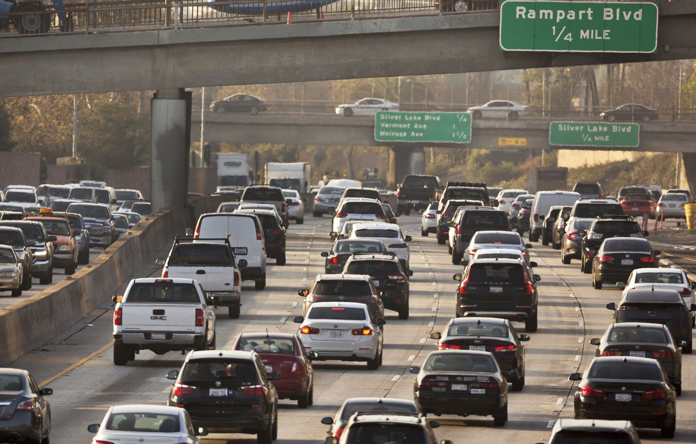 This photo shows traffic on the Hollywood Freeway in Los Angeles on Dec. 12, 2018.
