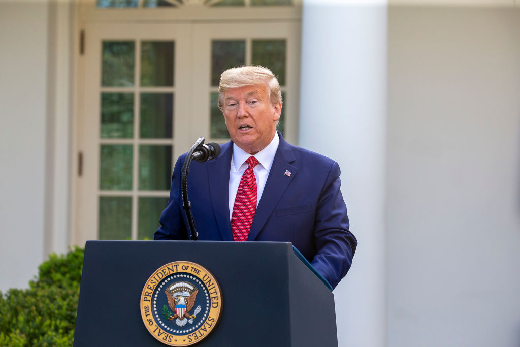 U.S. President Donald Trump speaks in the Rose Garden for the daily coronavirus briefing at the White House on March 29, 2020 in Washington, DC.