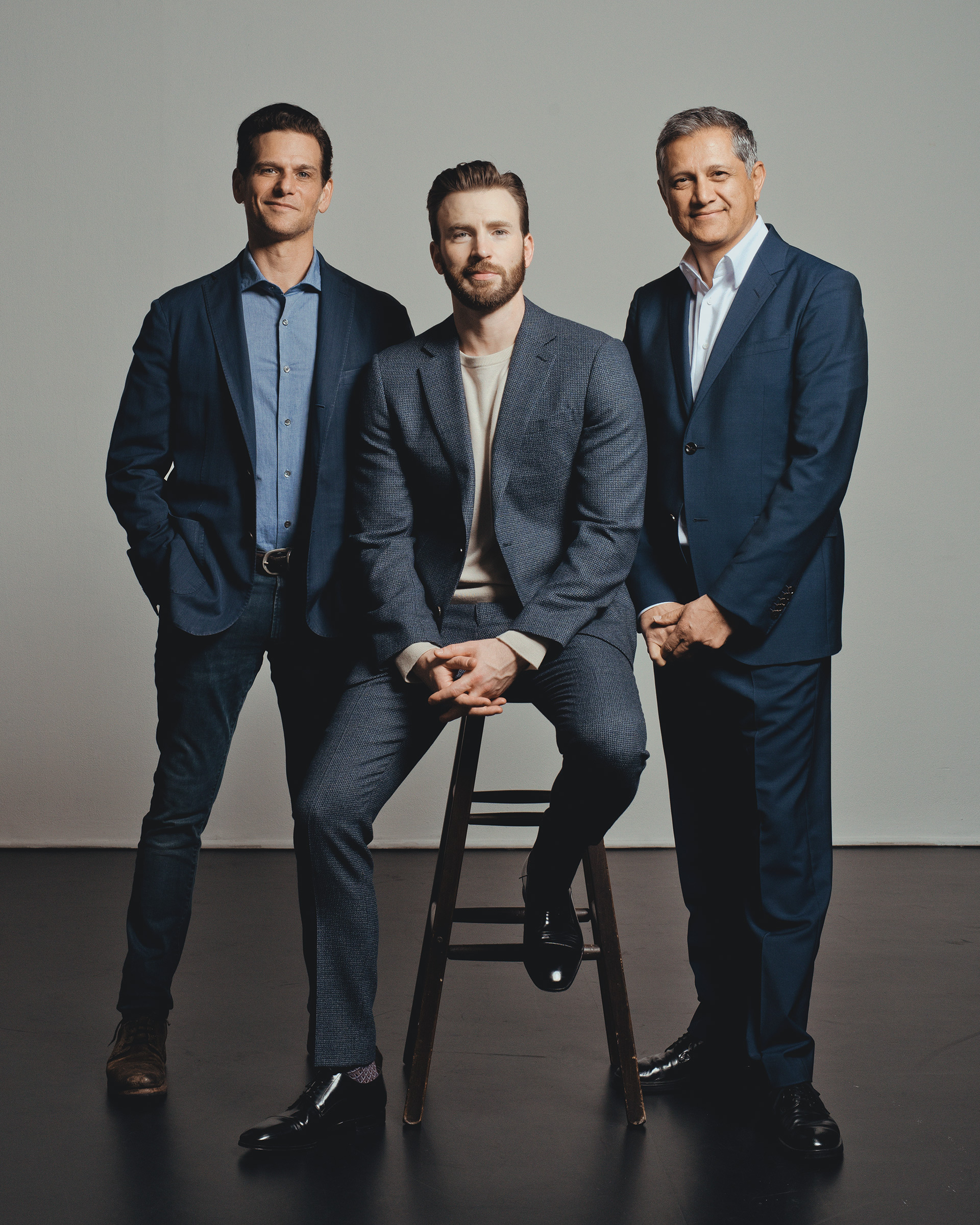 Mark Kassen, Chris Evans and Joe Kiani photographed in Los Angeles, CA on March 11, 2020.