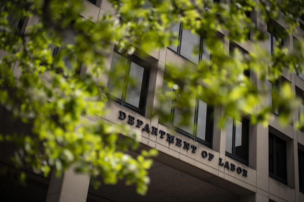 The U.S. Department of Labor headquarters stands in Washington, D.C., U.S., on Wednesday, March 18, 2020.
