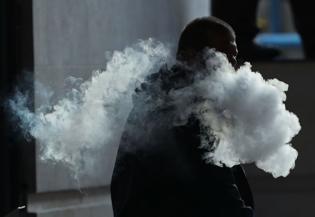 The vapor cloud produced by a man with an e-cigarette in London.