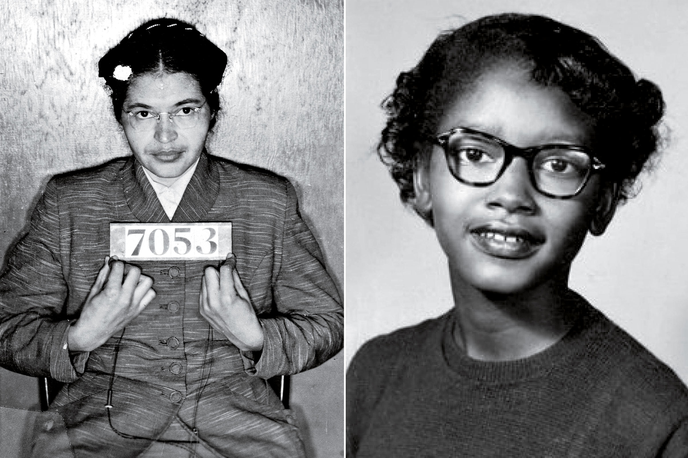 Claudette Colvin, right, refused to give up her seat on a bus in March 1955. Rosa Parks, left, was arrested later that year for refusing to give up her seat and arrested again in February 1956 (pictured) for participating in the Montgomery bus boycott.