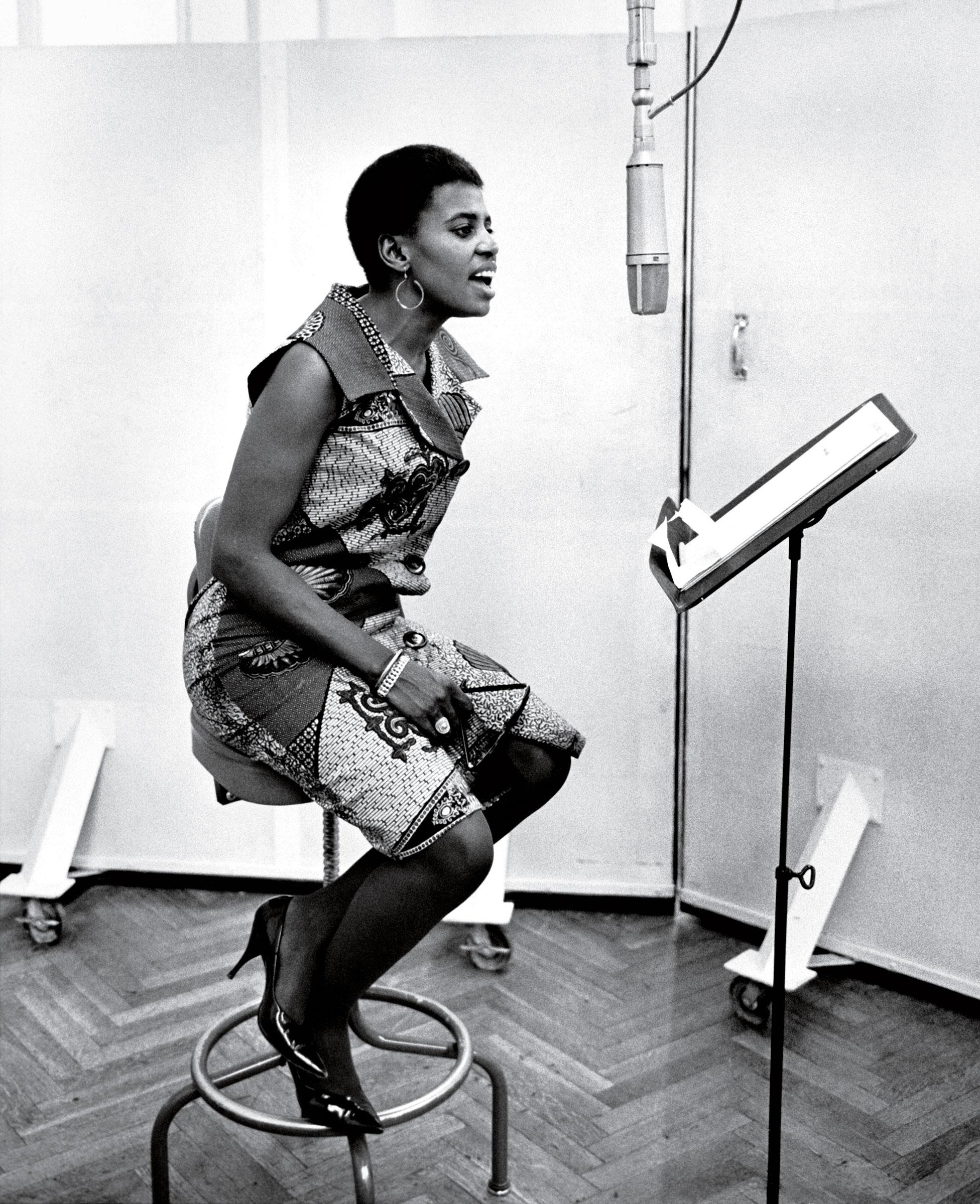 South African singer Zenzi Miriam Makeba in the RCA recording studios in the 1960s in New York City.