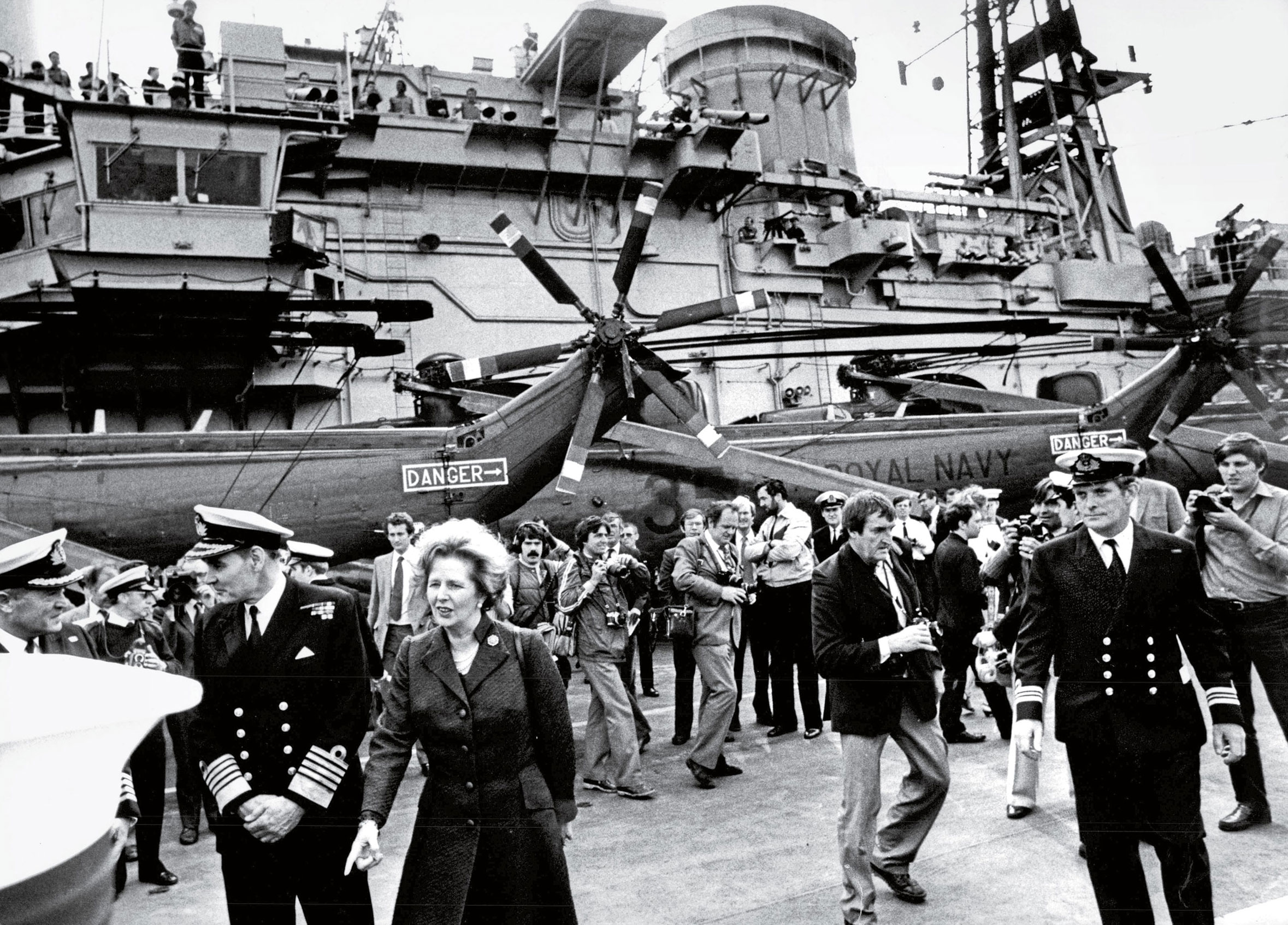 Thatcher aboard H.M.S. Hermes after its return from the Falklands War in 1982.