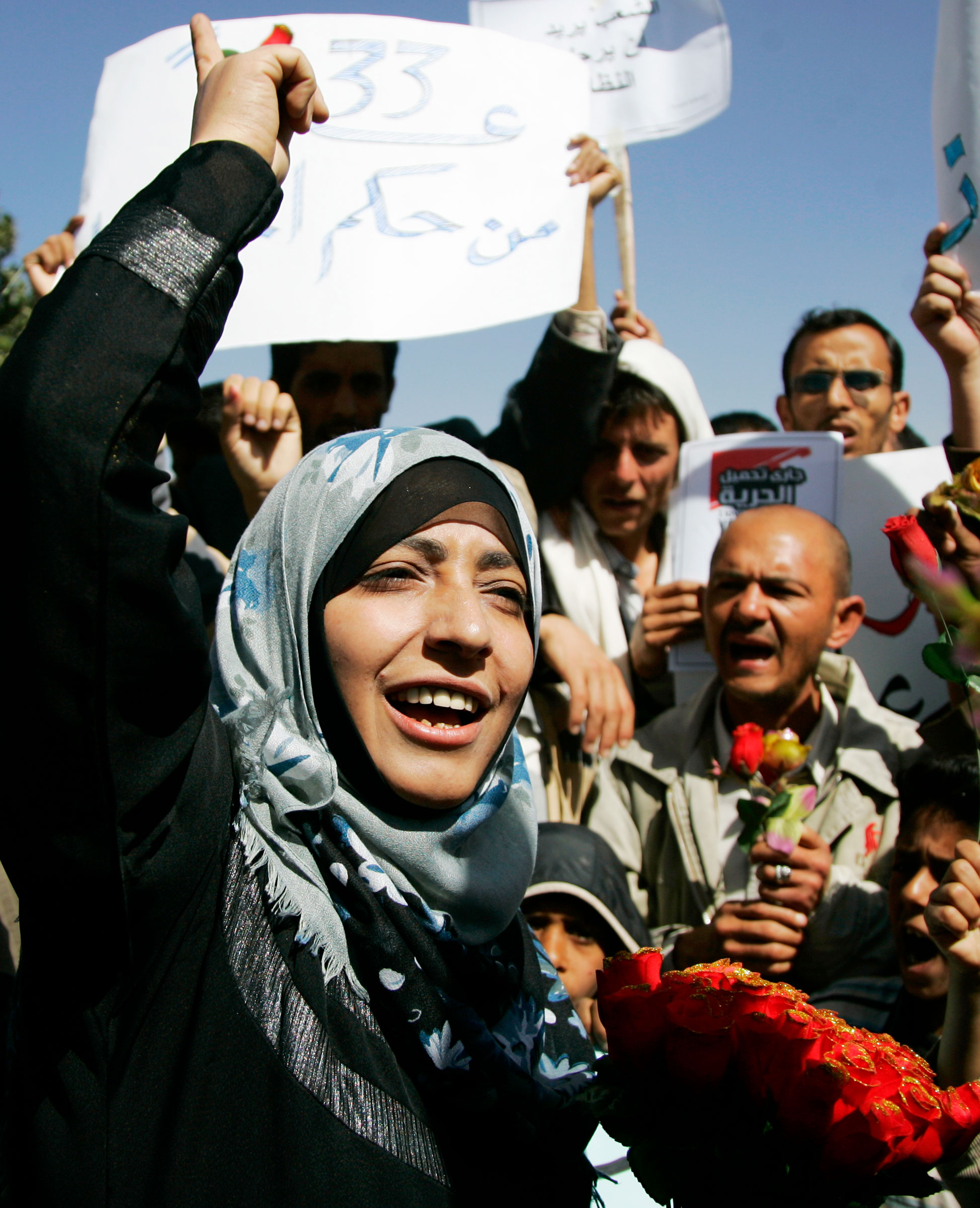 Tawakkol Karman, the chairwoman of Women Journalists without Chains, shouts slogans during an anti-government protest in Sanaa February 10, 2011.