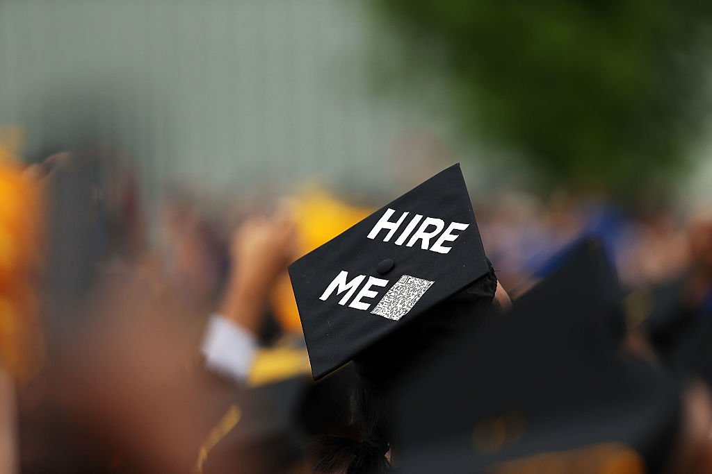 A graduating student's cap declares their future intentions during commencement exercises at City College where First lady Michelle Obama delivered the commencement speech after being presented with an honorary doctorate of humane letters at City College on June 3, 2016 in New York City.