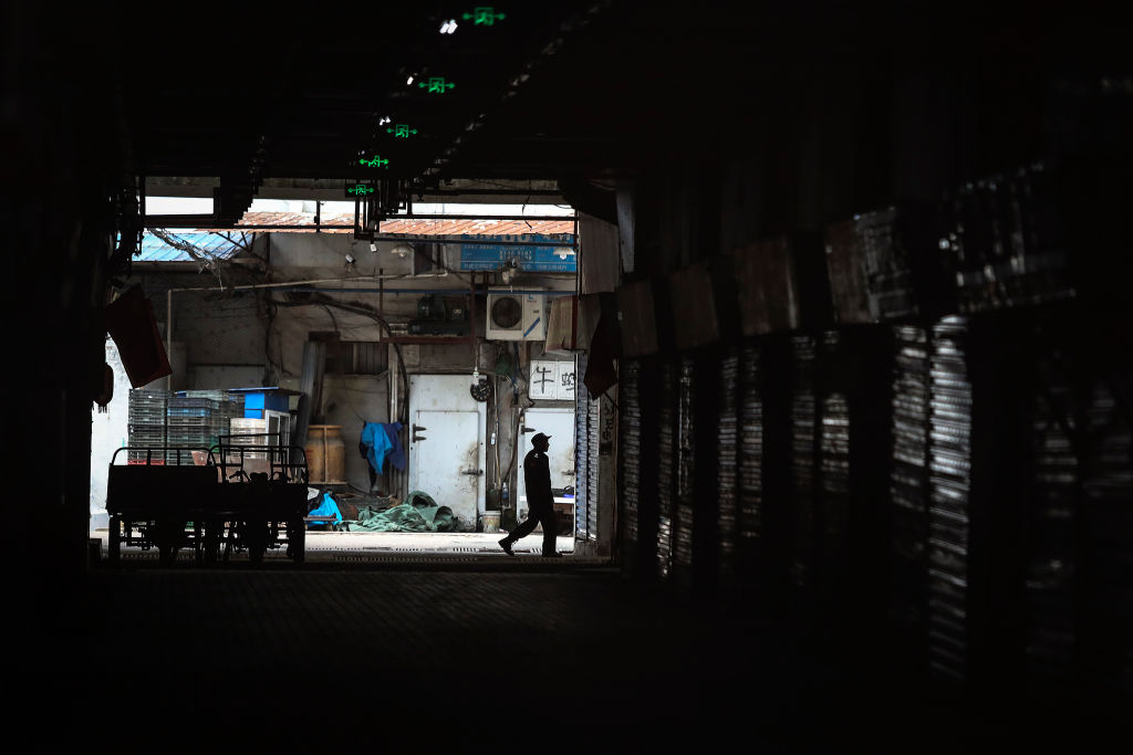 An employee walks past the closed Huanan Seafood Wholesale Market, which has been linked to cases of coronavirus, on Jan. 17, 2020 in Wuhan, Hubei province, China. Local authorities have confirmed that a second person in the city has died of a pneumonia-like virus since the outbreak started in December.