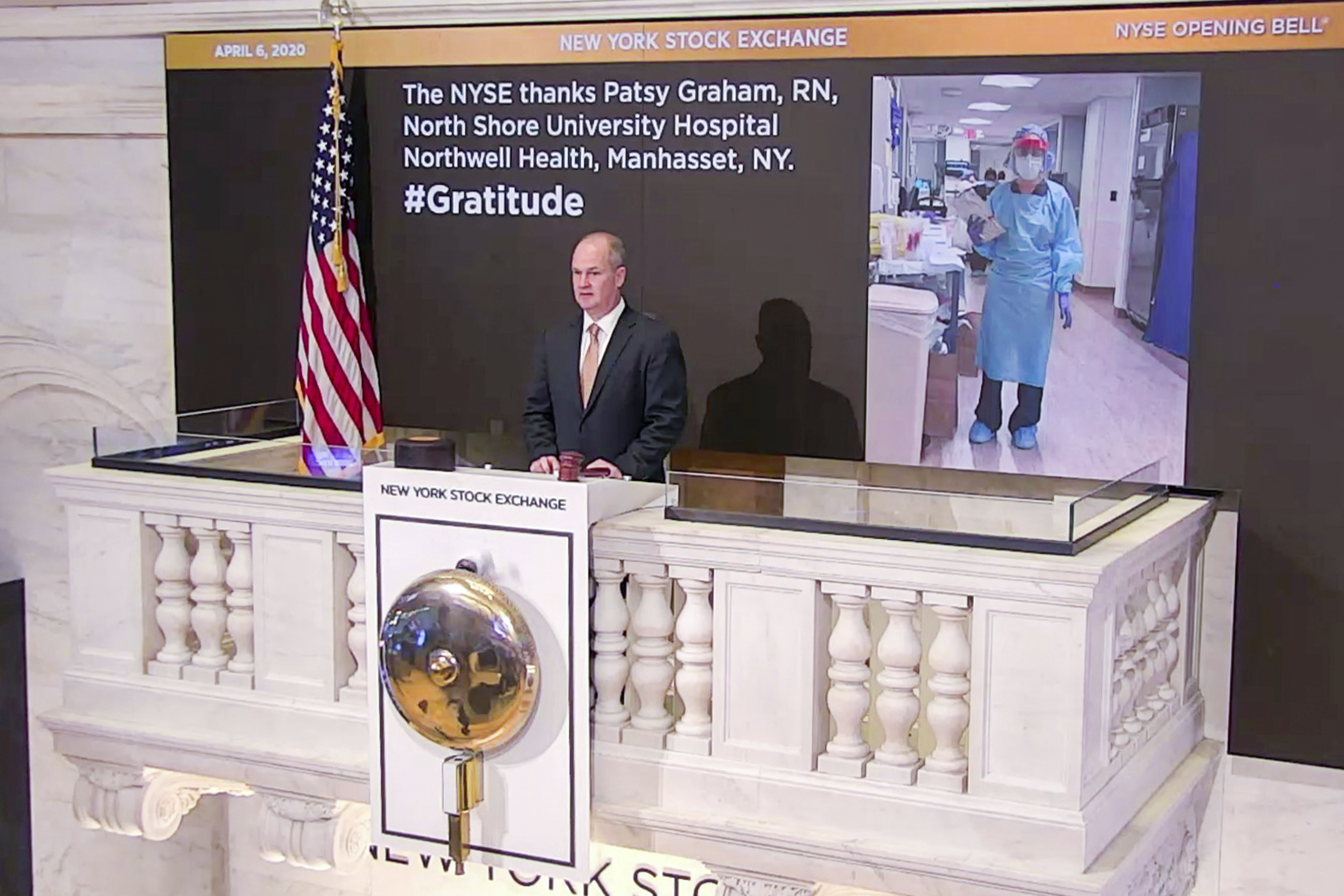 Chief Security Officer Kevin Fitzgibbons rings the opening bell at the NYSE, on April 6, 2020.