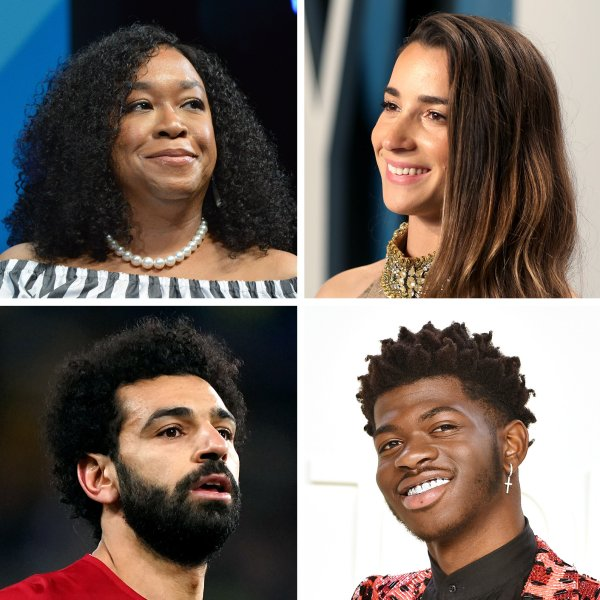 Clockwise from Top Left: Shonda Rhimes, Aly Raisman, Misty Copeland, Kevin Kwan, Lil Nas X, Mohamed Salah