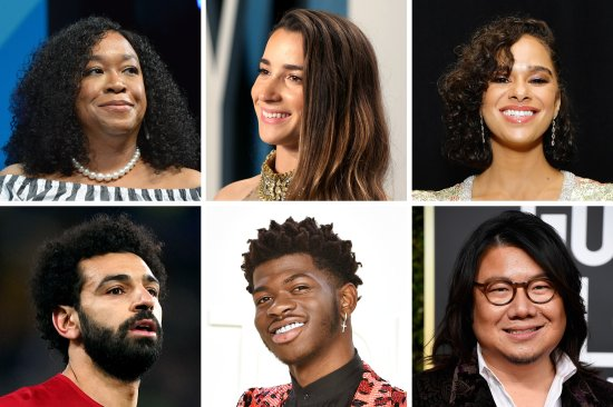 A grid of photos showing Shonda Rhimes, Aly Raisman, Misty Copeland, Kevin Kwan, Lil Nas X, Mohamed Salah
