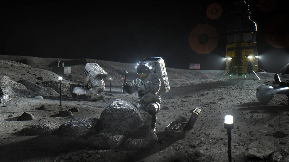 NASA rendering of a return to the moon. The lander in the background is imagined and generic—showing no favoritism to any of the three contending companies.