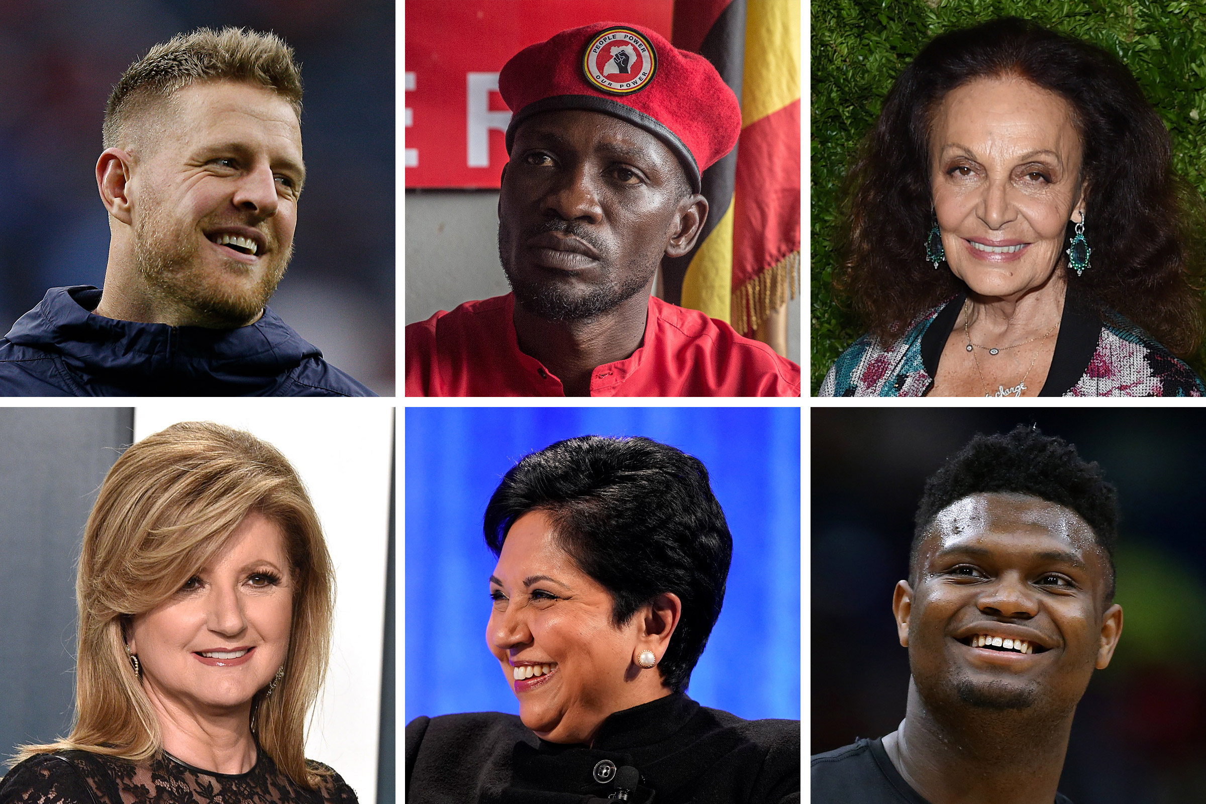 Clockwise from Top Left: JJ Watt, Bobi Wine, Diane von Furstenberg, Zion Williamson, Indra Nooyi, Arianna Huffington