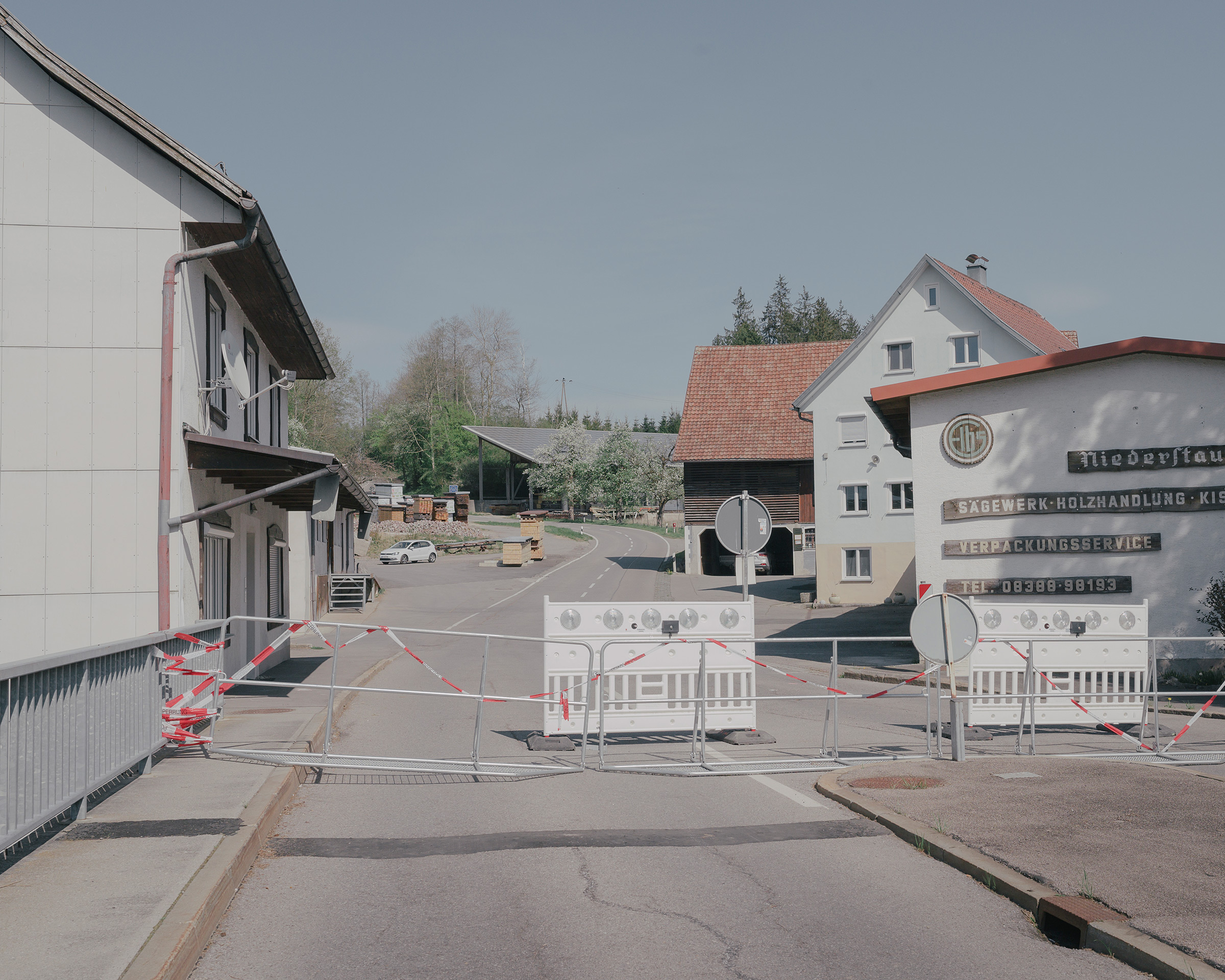 The closed border between the German village of Sigmarszell and the Austrian village of Hohenweiler on April 18.