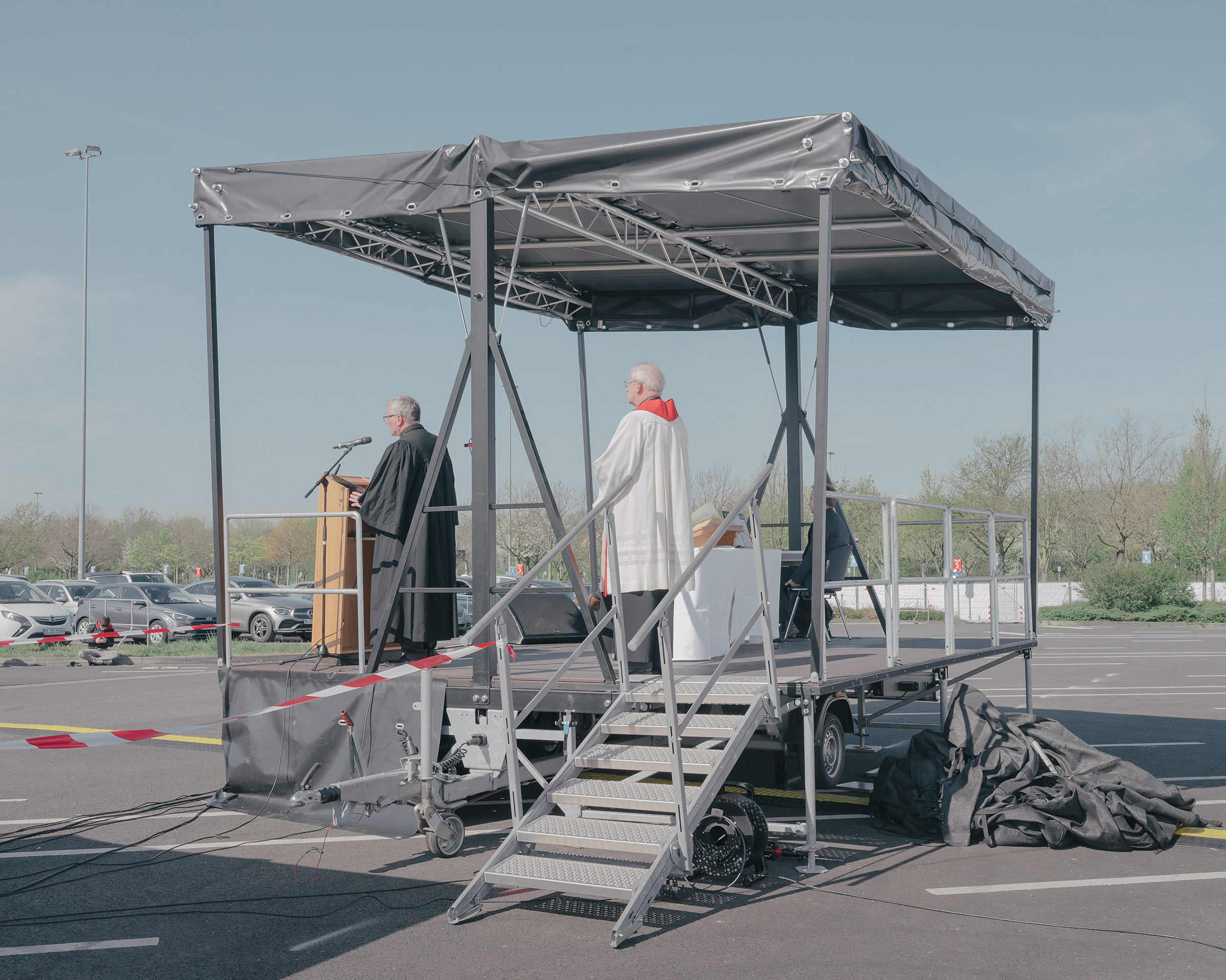 Easter services are held at a drive-in cinema in Düsseldorf on April 10, as church services have been prohibited throughout Germany since March 16.
