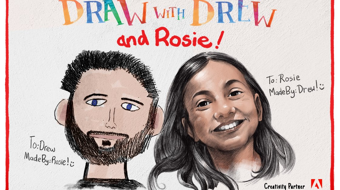 "TIME for Kids and Adobe Launch New Interactive Video Series ""Draw with Drew (and Rosie!)"" to Provide Drawing Lessons and Inspire Creativity For Kids During School Closures thumbnail"