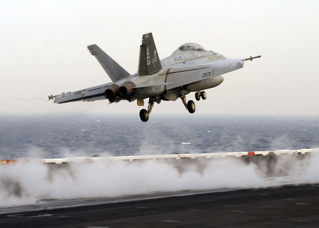 An F/A-18F Super Hornet launches from the flight deck of Nimitz-class aircraft carrier USS Dwight D. Eisenhower March 27, 2007 in the Persian Gulf.