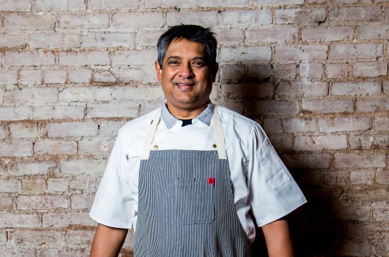 Floyd Cardoz at his SoHo restaurant Bombay Bread Bar in New York