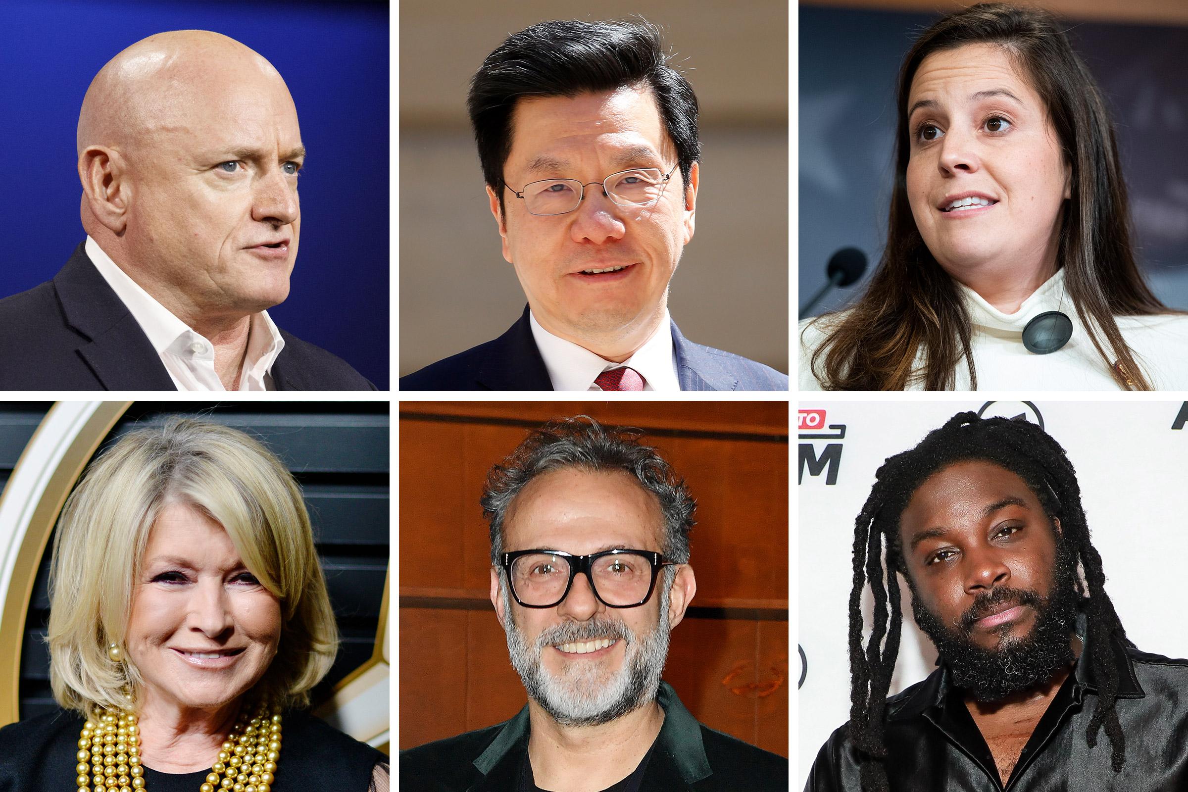 Clockwise from Top Left: Scott Kelly, Kai-Fu Lee, Elise Stefanik, Jason Reynolds, Massimo Bottura, Martha Stewart