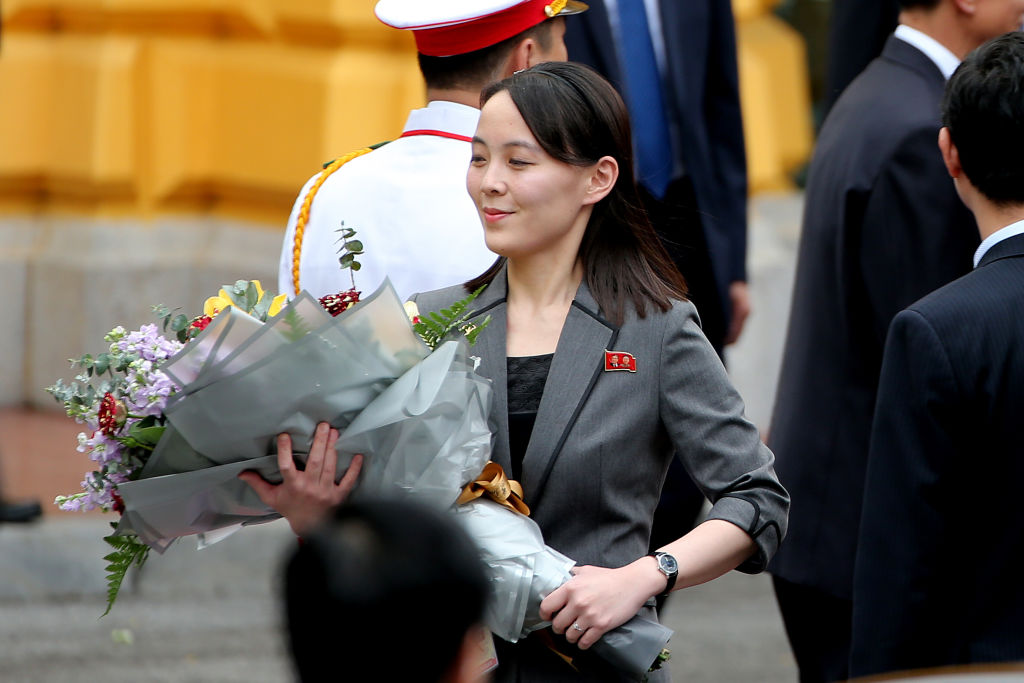 Kim Yo-Jong, sister of North Korean leader Kim Jong-Un, holds a flower bouquet during a welcoming ceremony at the Presidential Palace in Hanoi, Vietnam, on March 1, 2019.