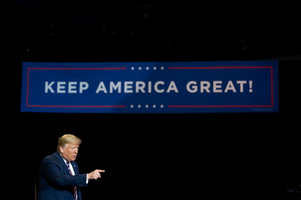 U.S. President Donald Trump delivers remarks at a  Keep America Great  rally in Las Vegas, Nevada, on February 21, 2020.