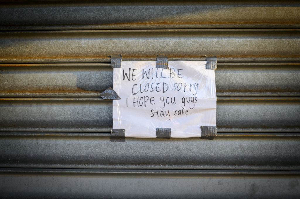 A sign reads outside a store on Metropolitan Avenue in the Queens borough of New York on April 7, 2020.
