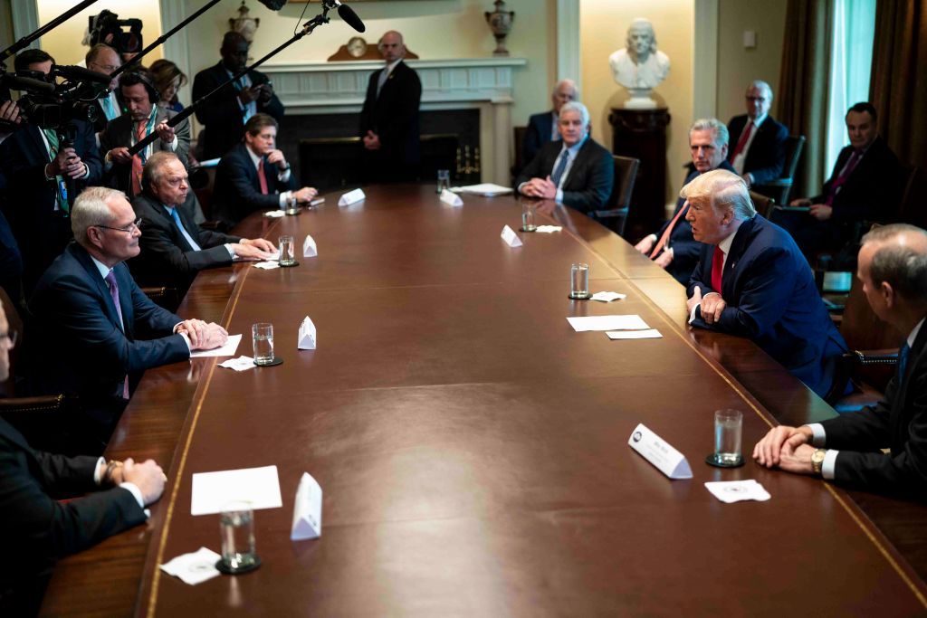 U.S. President Donald Trump speaks during a roundtable meeting with energy sector CEOs in the Cabinet Room of the White House in Washington, DC, on April 3, 2020.