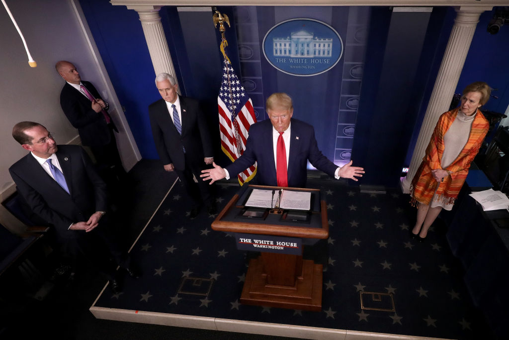 U.S. President Donald Trump answers questions in the press briefing room with members of the White House Coronavirus Task Force in Washington, DC, on April 3, 2020.