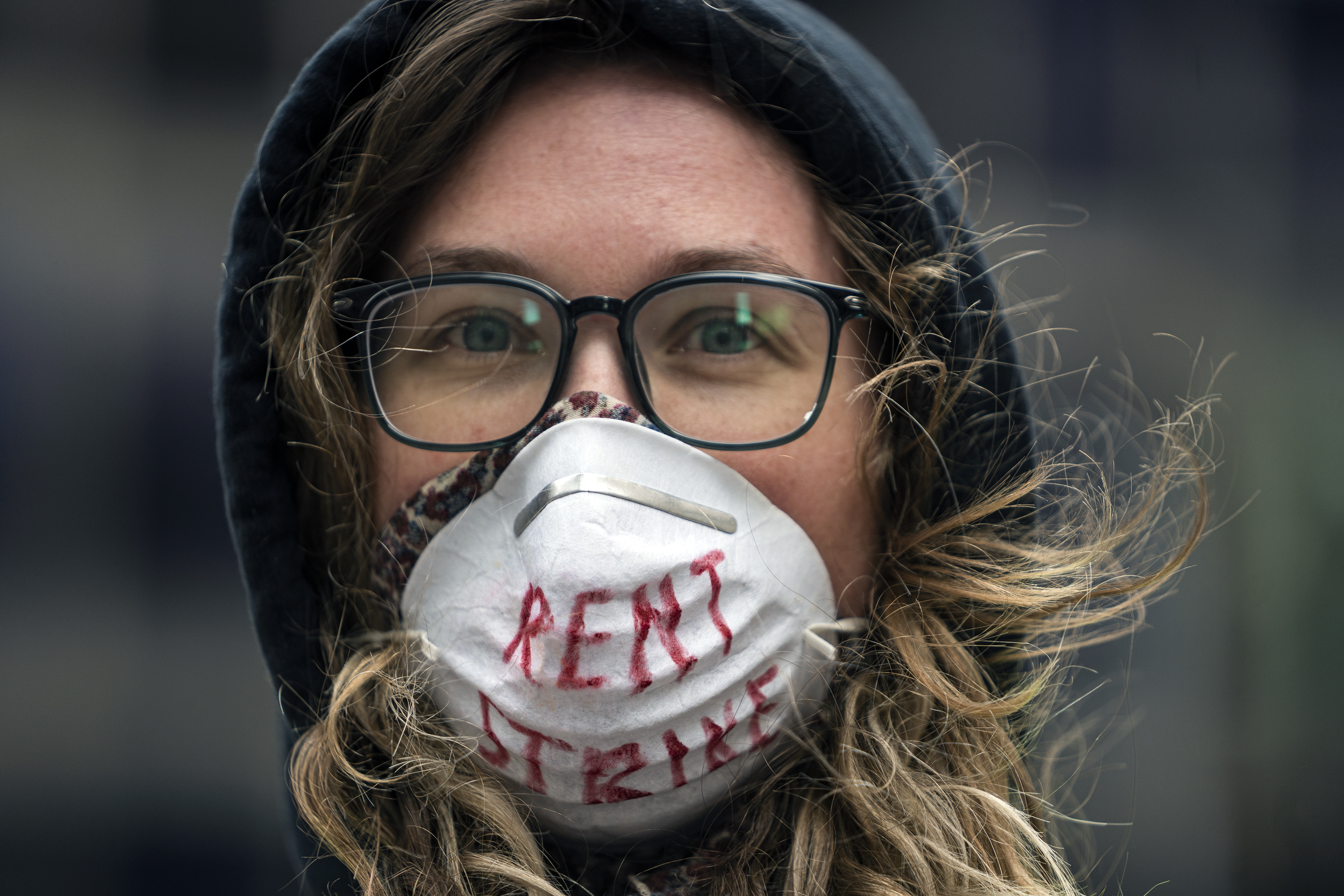 Karissa Stotts takes part in a protest calling for relief for renters and homeowners in Minneapolis, Minn., on April 8, 2020.