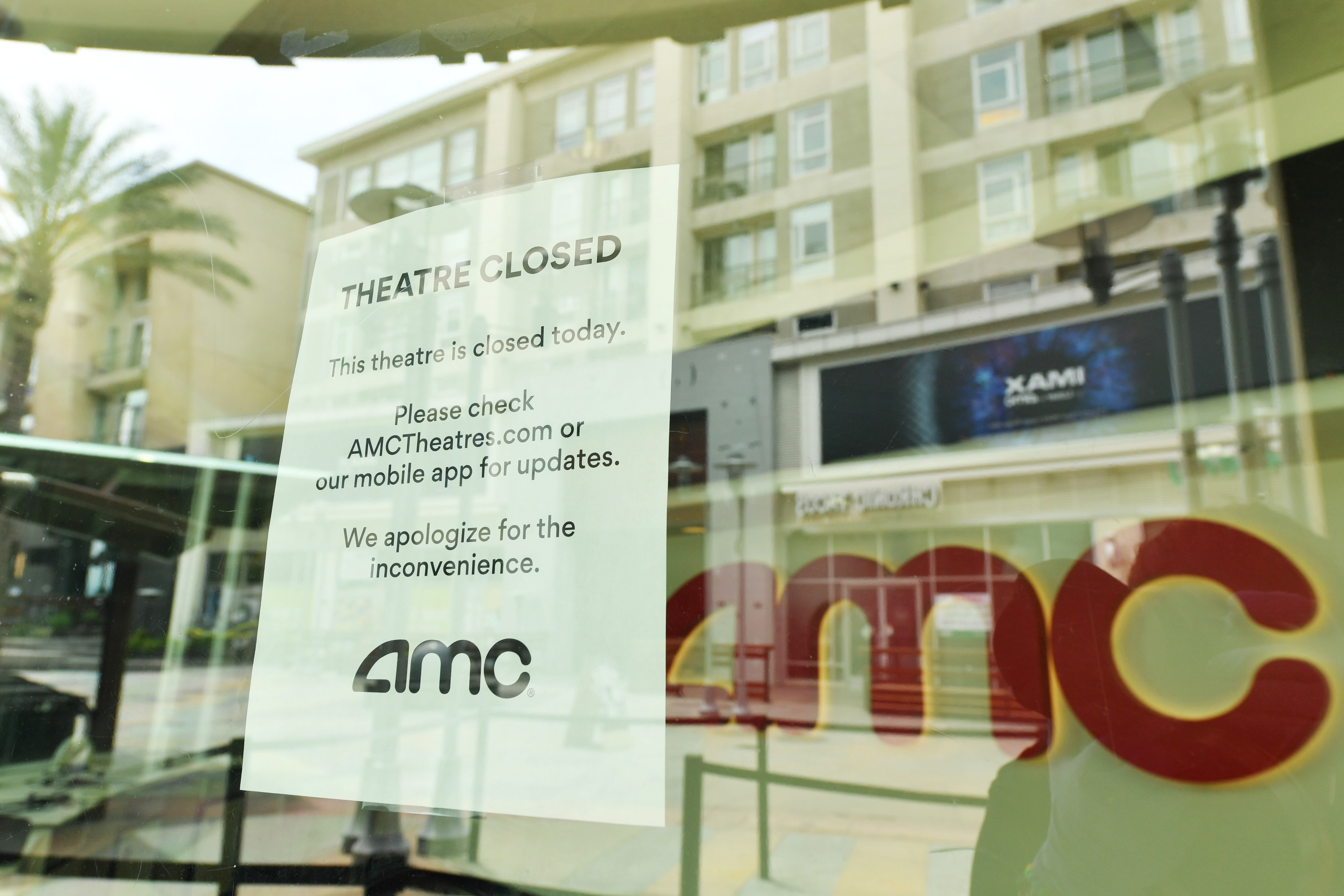Outside of AMC Burbank 16 on April 17, 2020 in Burbank, CA. Due to COVID-19, AMC Theatres were forced to close all global locations in March.
