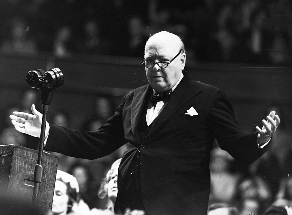Winston Churchill (1874 - 1965) addressing a Women Conservatives meeting on 27th May 1954.