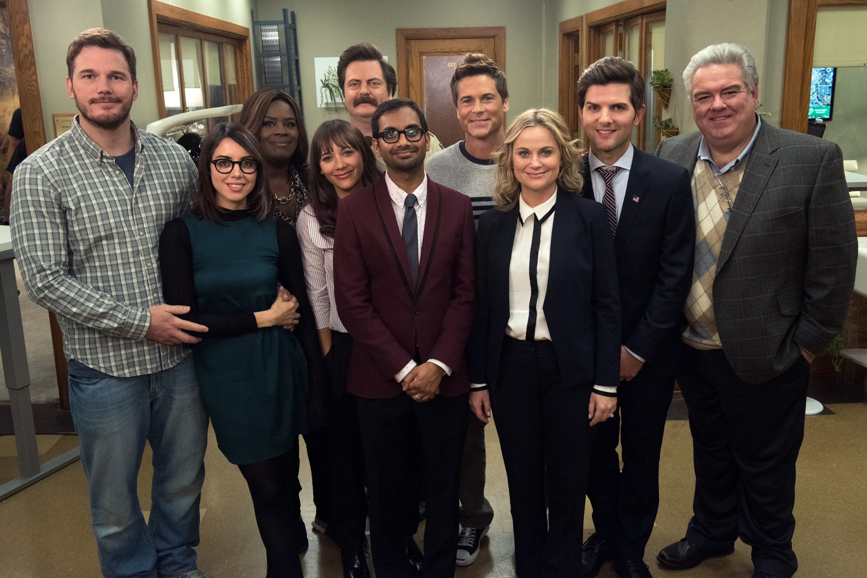 The cast of 'Parks and Recreation' in the show's 7th season.