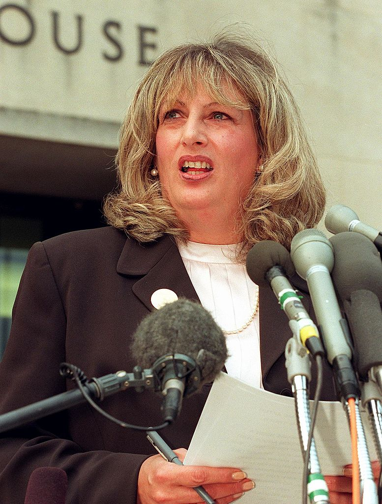 Linda Tripp talks to reporters outside of the Federal Courthouse, following her eighth day of testimony before the grand jury investigating the Monica Lewinsky affair in Washington D.C., on July 29, 1998.
