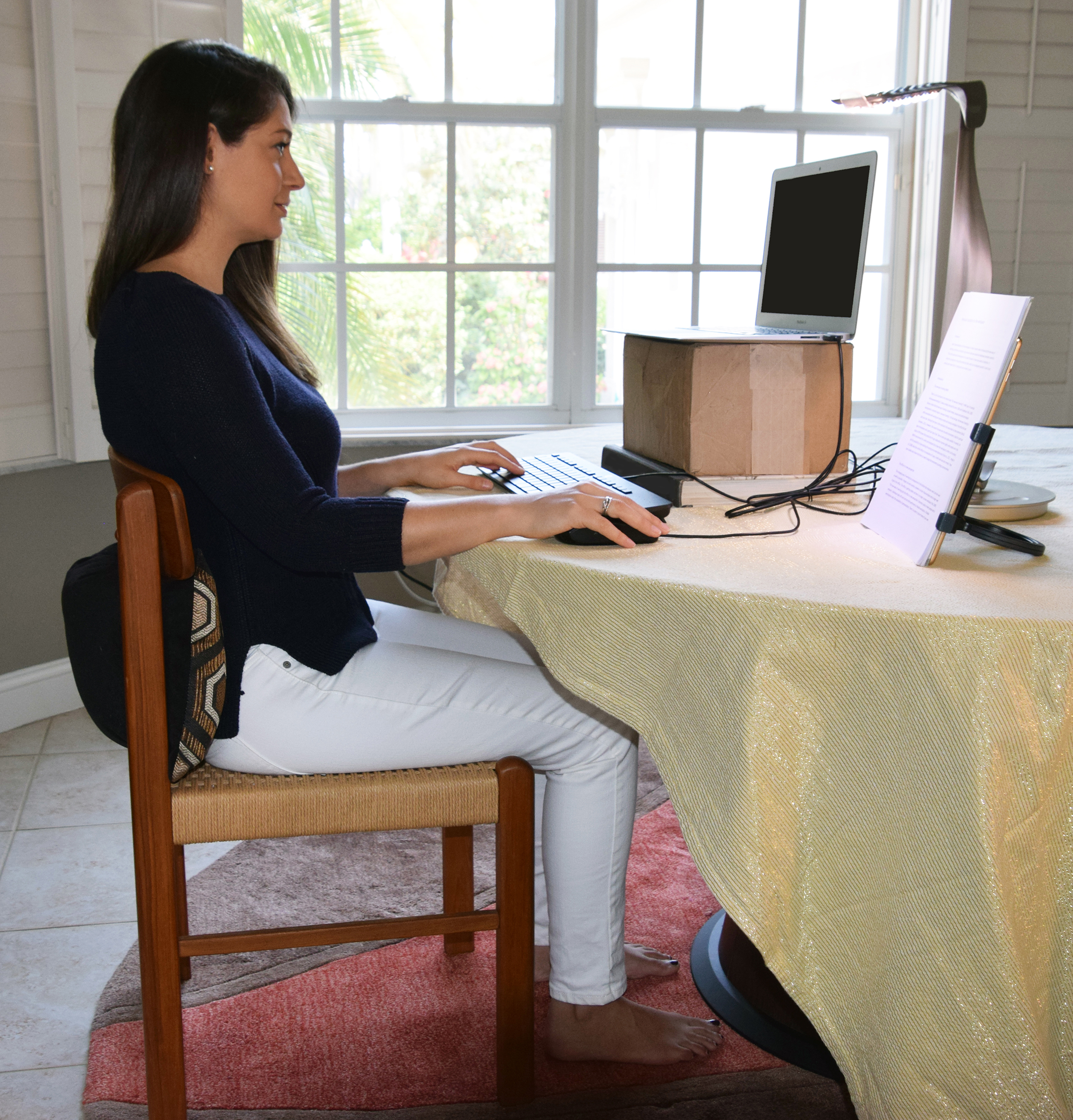 The author's daughter-in-law demonstrates optimal ergonomic posture.
