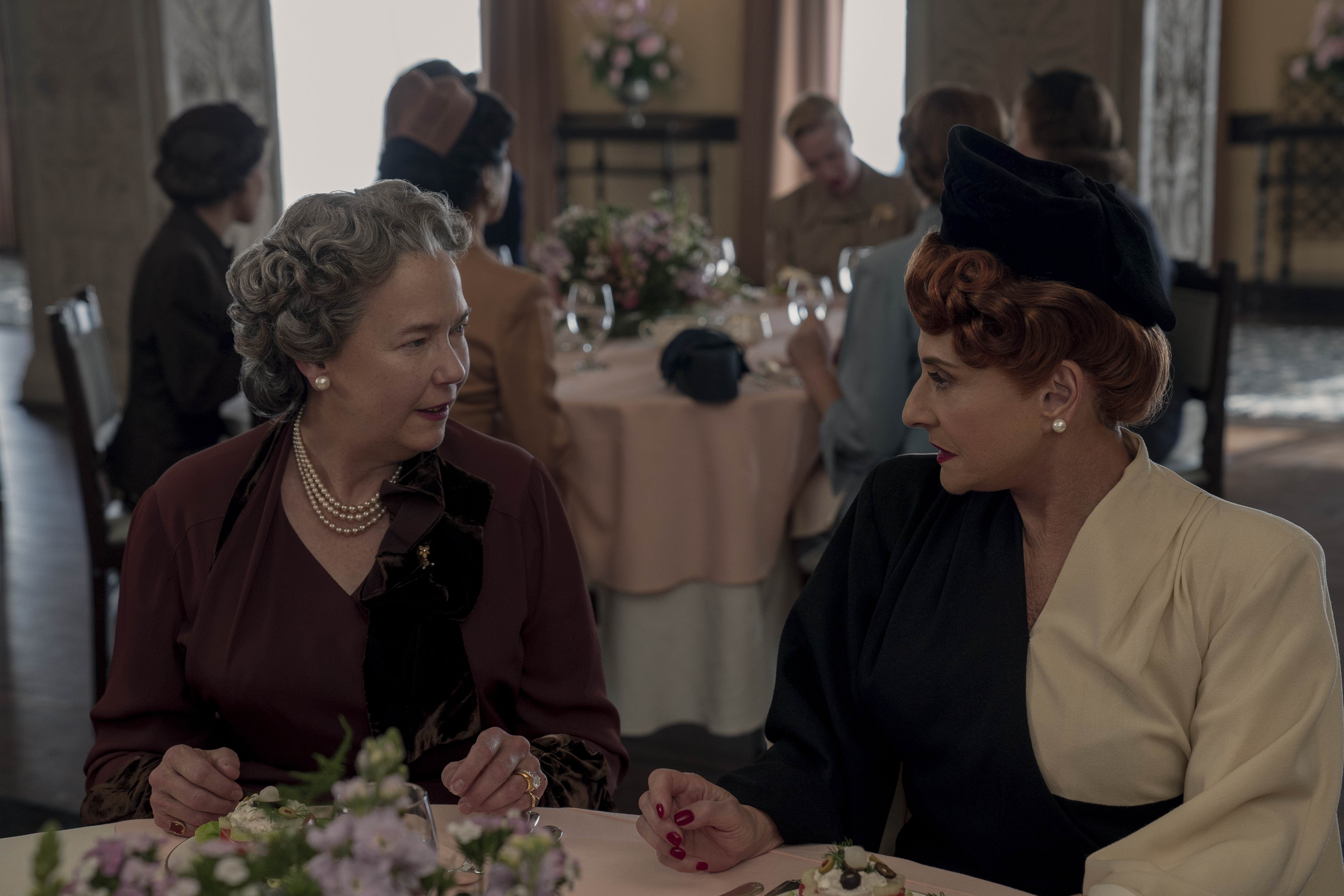 Harriet Sansom Harris (as Eleanor Roosevelt) and Patti LuPone in 'Hollywood'
