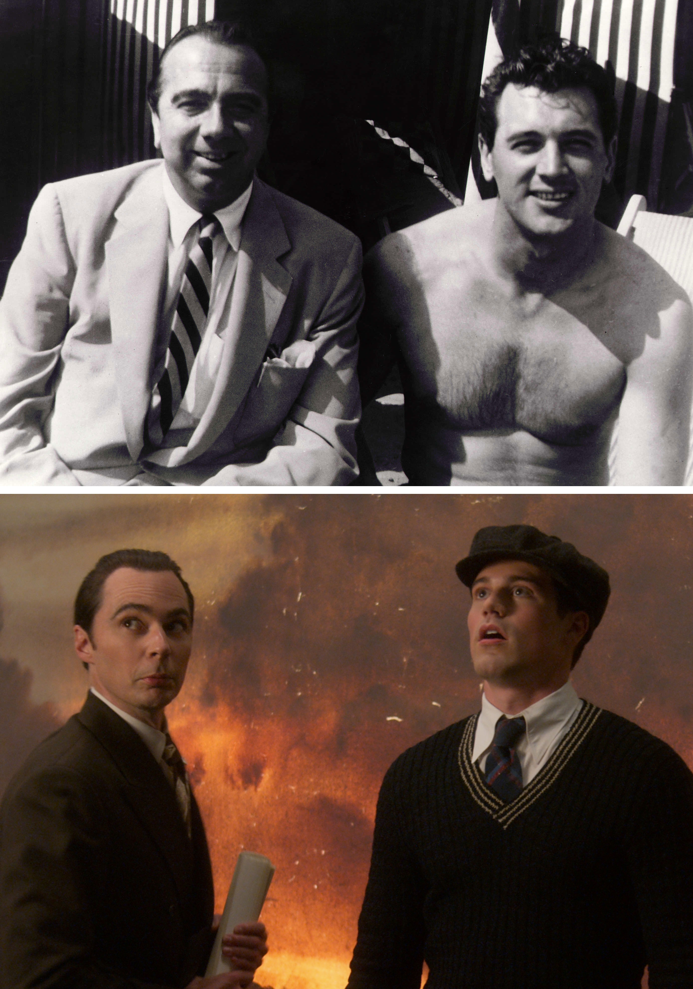 Henry Willson and Rock Hudson; Jim Parsons as Henry Willson and Jake Picking as Rock Hudson in 'Hollywood'