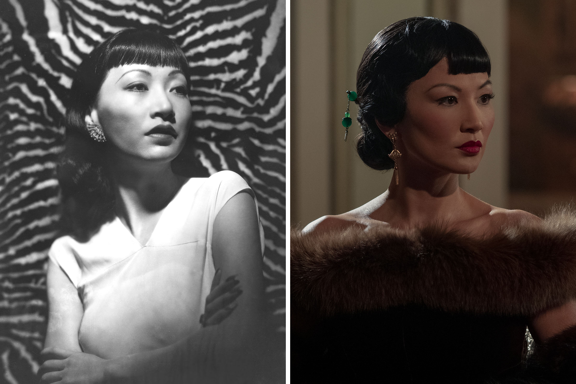 Anna May Wong circa 1930; Michelle Krusiec as Anna May Wong in 'Hollywood'