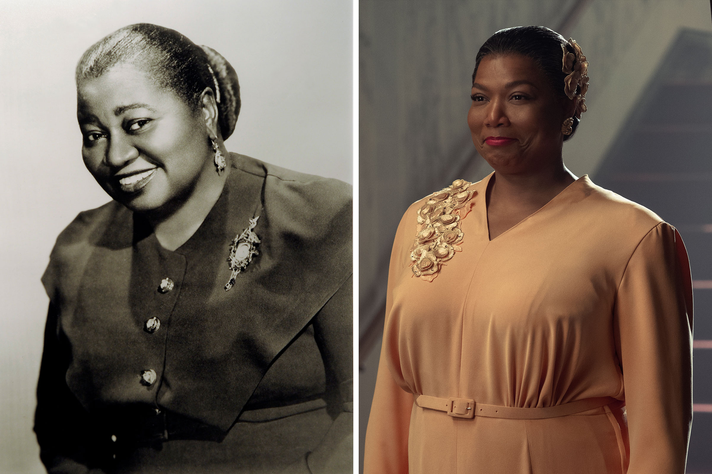 An image made of a photograph of Hattie McDaniel that hangs at the Theater at Howard University; Queen Latifah as Hattie McDaniel in 'Hollywood'
