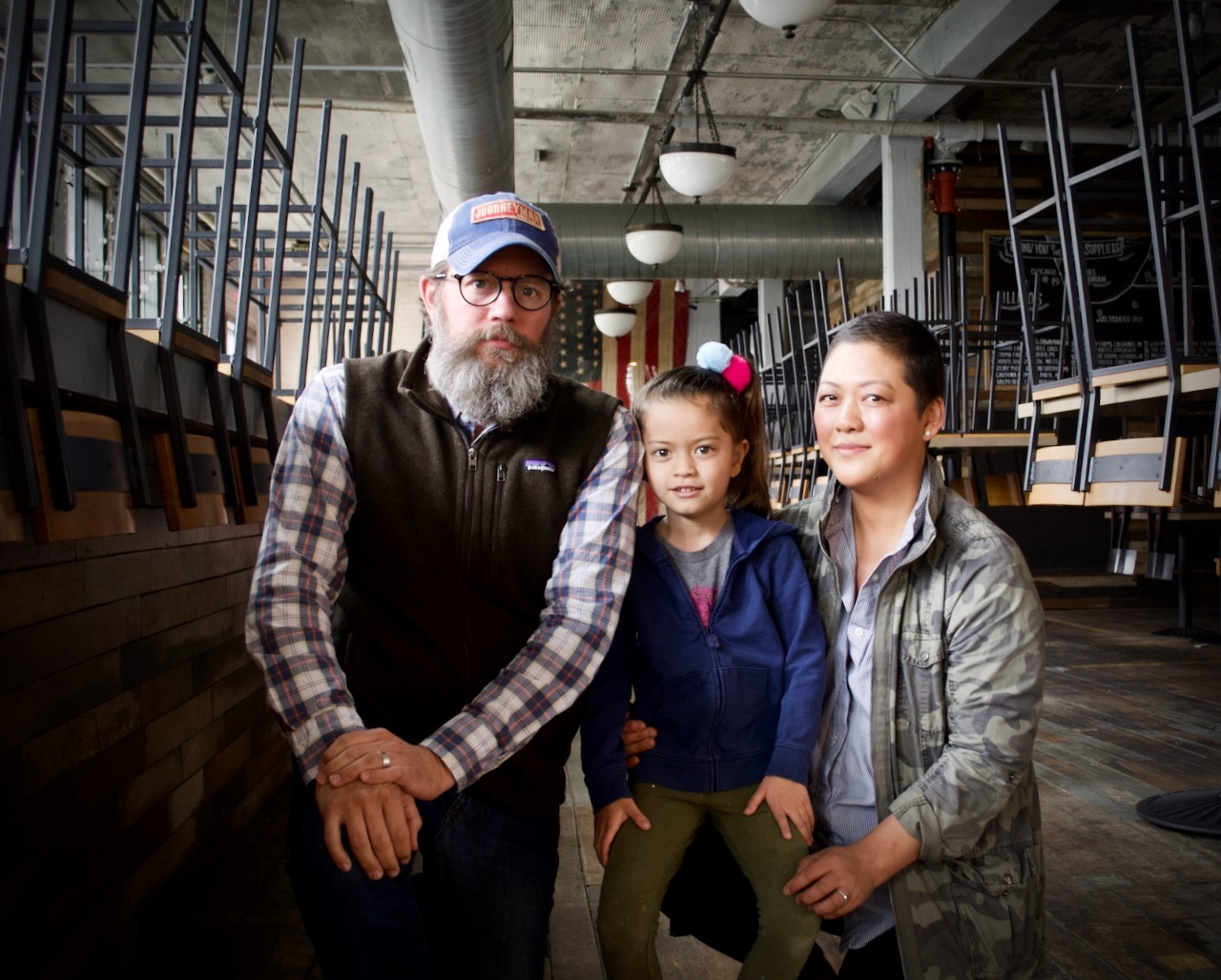 Bill and Johanna Welter, founders of Journeyman Distillery, and their daughter Islay.